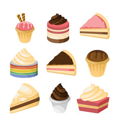 various cake and sweet design set vector image
