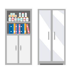 Veterinarian bookcase with files and bottles set vector