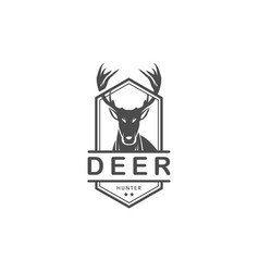 vintage deer hunter logo design vector image