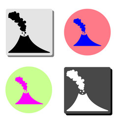 volcano flat icon vector image