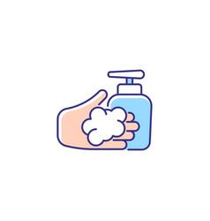 Washing with liquid soap rgb color icon vector