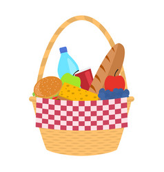 wicker picnic basket with a blanket vector image