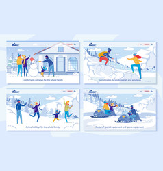 Winter family tourism and travel advertising set vector