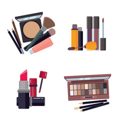 woman cosmetic makeup beauty accessories bronzer vector image