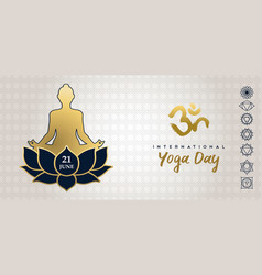 yoga day card gold woman in lotus pose vector image
