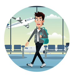 Young man with backpack airport vector