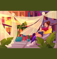 Young woman relaxing on balcony cartoon vector