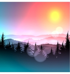 Bokeh colorful background and silhouette of forest vector image