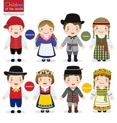 Children of the world Denmark Latvia Sweden vector image vector image