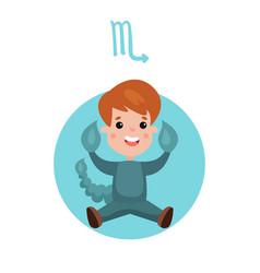 cute little boy as scorpio astrological sign vector image