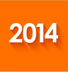 New year 2014 on orange background vector image vector image