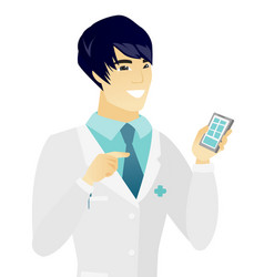 young asian doctor holding a mobile phone vector image vector image