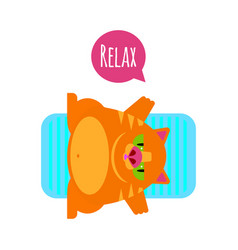 Fat funny red cat relax vector