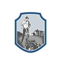 Gardener Mow Lawn Mower Woodcut Shield vector image vector image