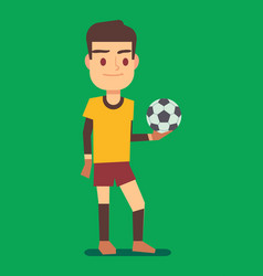 soccer player holding a ball green field vector image