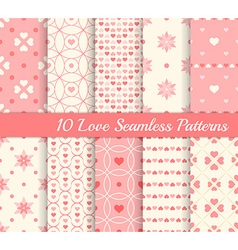 10 different seamless patterns Love collection vector image