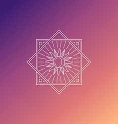 Abstract emblem in trendy linear style with sun vector