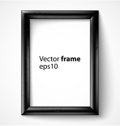Black wooden rectangular 3d photo frame with vector image vector image
