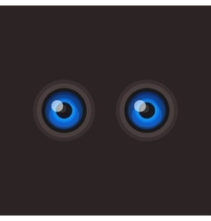 Blue Cartoon Eyes on Dark Background vector image