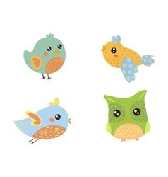 Four cute small birds collection vector