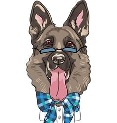 hipster dog German shepherd breed vector image vector image