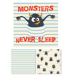 monsters never sleep surface design vector image vector image