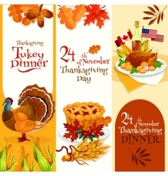 Thanksgiving Day dinner invitation banners vector image
