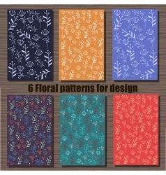 Very high quality original set of six floral vector image vector image