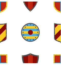 ancient shields pattern heraldic shields in flat vector image