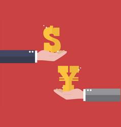 currency exchange dollar and yen vector image