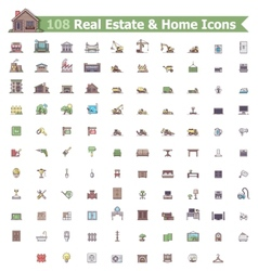 Real estate and home icon set vector image
