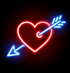 red heart pierced by cupids arrow neon sign vector image vector image