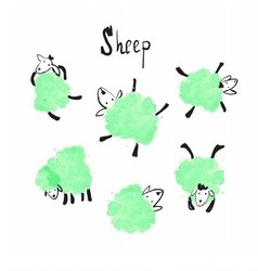 Set of the green sheep vector image
