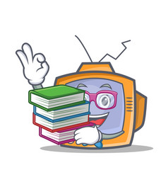 Student tv character cartoon object with book vector