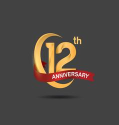 12 anniversary design logotype golden color vector