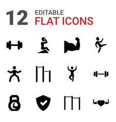12 strong icons vector