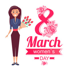 8 of march women s day poster with woman vector