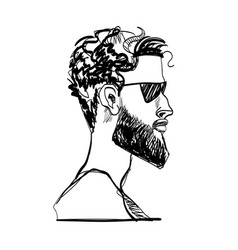 a man with a beard sunglasses vector image