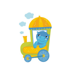 adorable blue behemoth with pink cheeks on train vector image