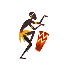 African man dancing and playing drum aboriginal vector