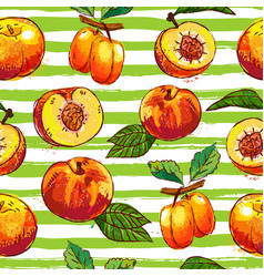 Apricot and peach repeating pattern hand drawn vector
