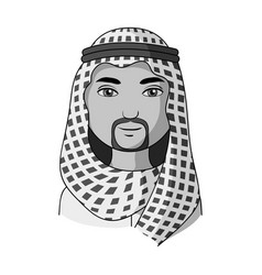 Arabhuman race single icon in monochrome style vector