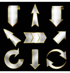 arrows set in metallic style vector image vector image