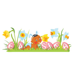 baby boy in bunny ears with decorative eggs vector image