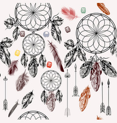 Background with hand drawn dream catcher vector
