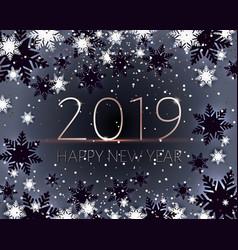 Black happy new years banner golden text 2019 vector