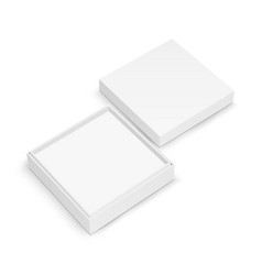 Blank square jewelry box mockup with lid vector