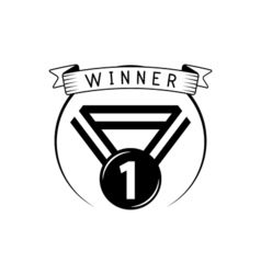 Blank winner award medal with ribbon isolated on vector image