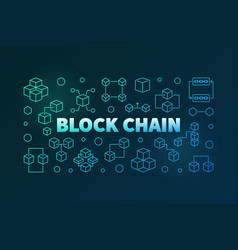 block chain colored banner in outline style vector image