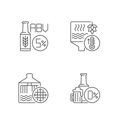 Brewery pixel perfect linear icons set vector